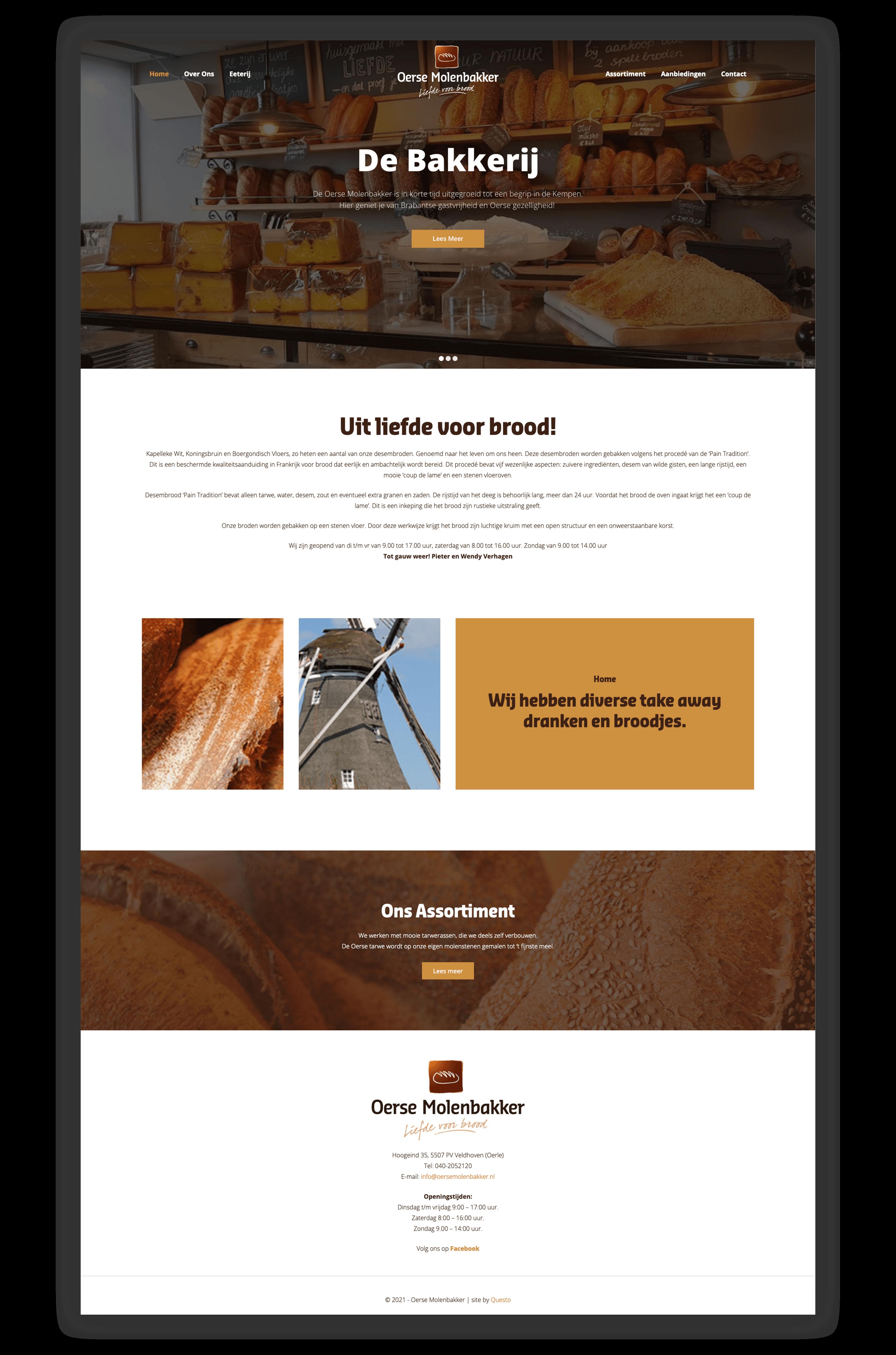 Website Oerse Molenbakker - Homepage