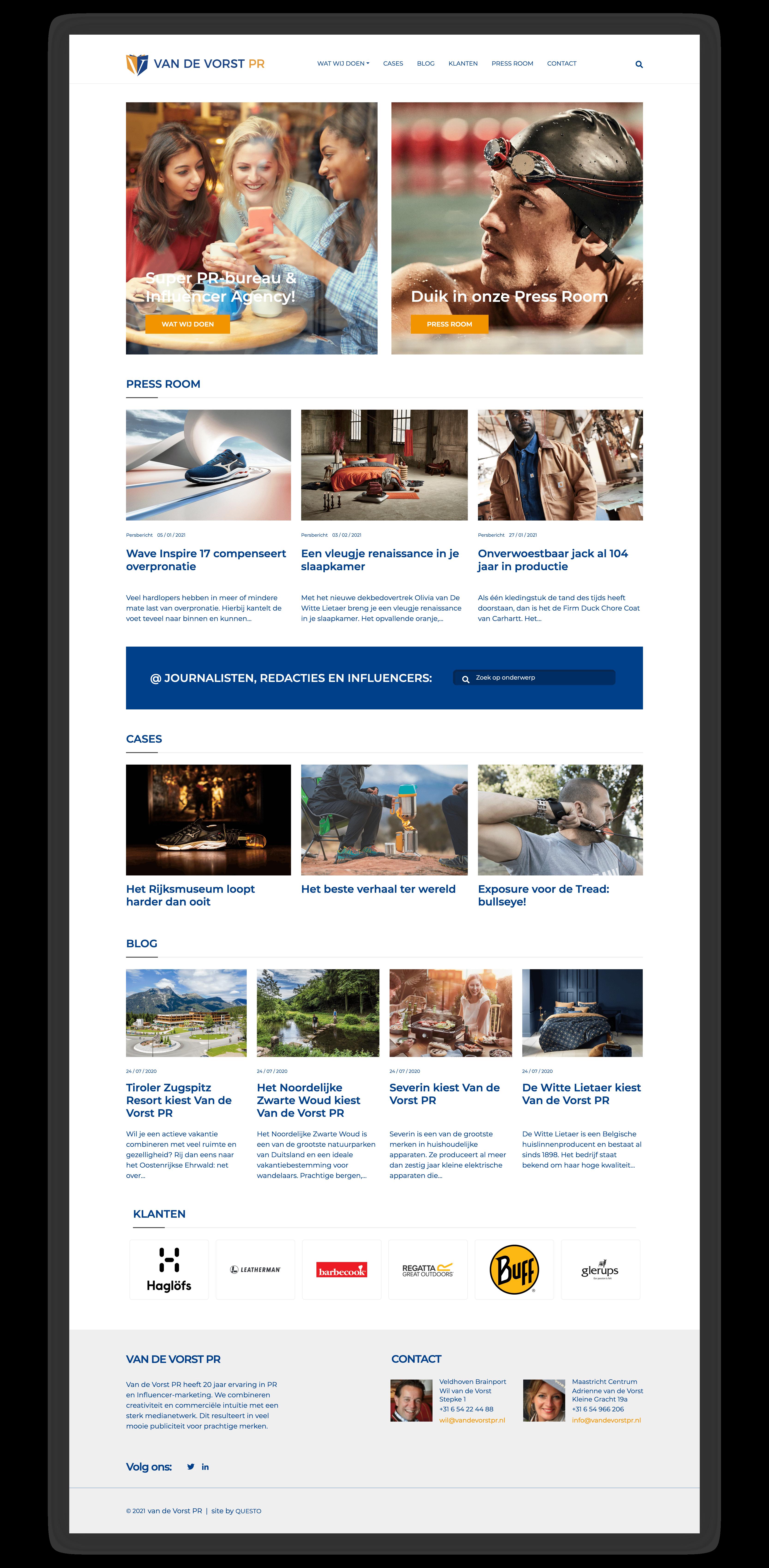 Website Van de Vorst PR - Homepage