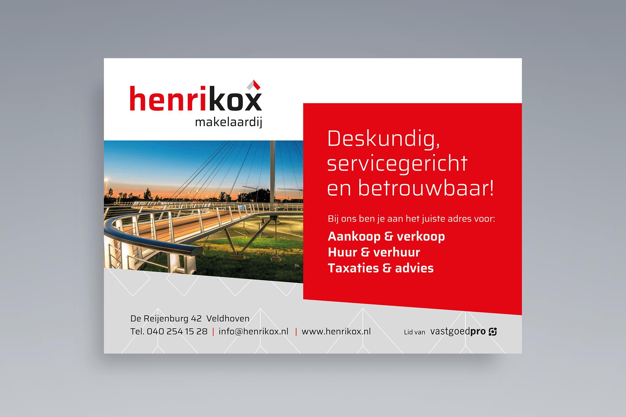 Advertentie Henri Kox Makelaardij