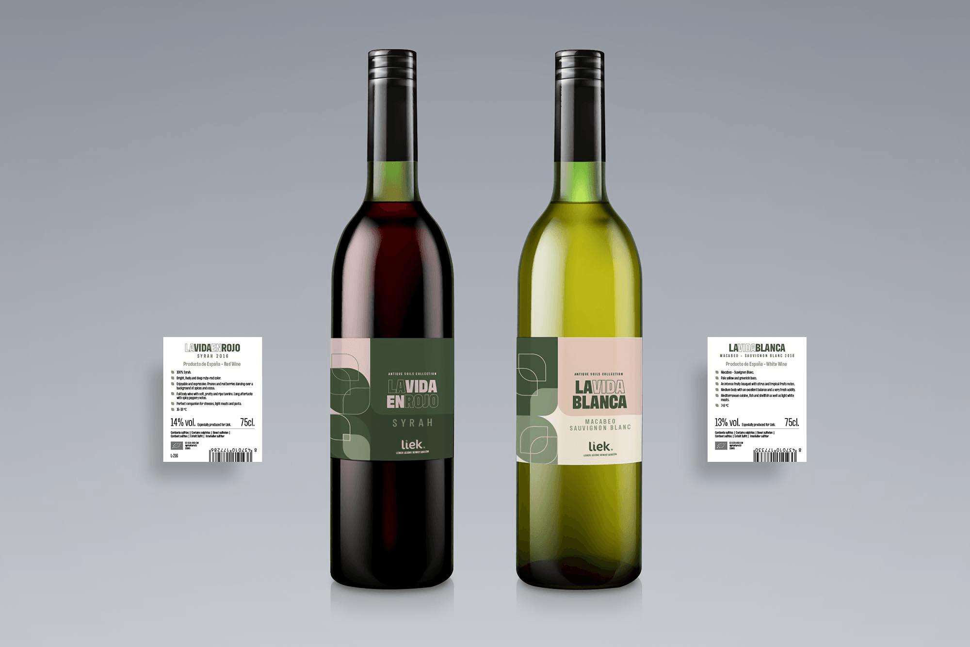 Etiketten wijnflessen Liek