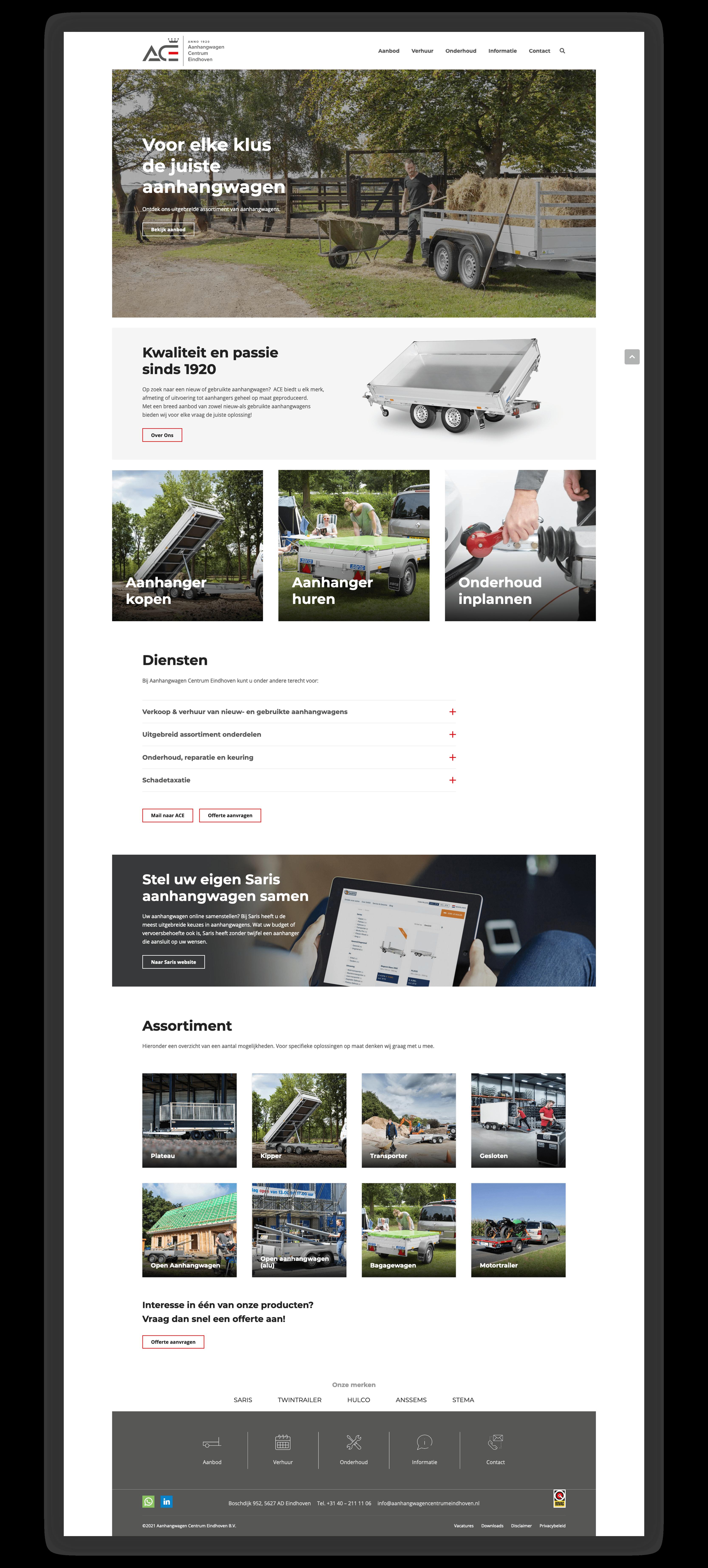 Website Aanhangwagen Centrum Eindhoven - Homepage