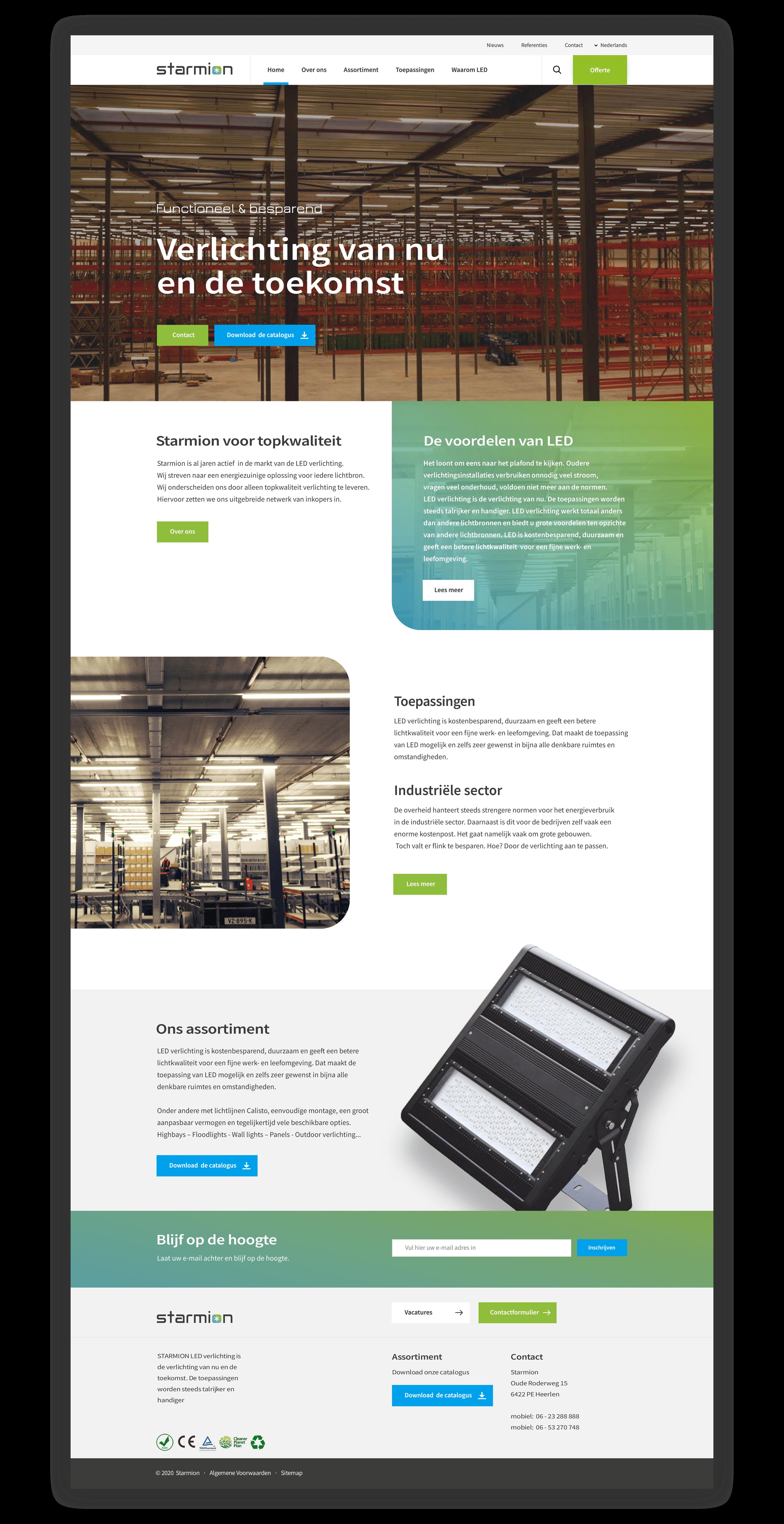 Website Starmion LED Lighting - Homepage